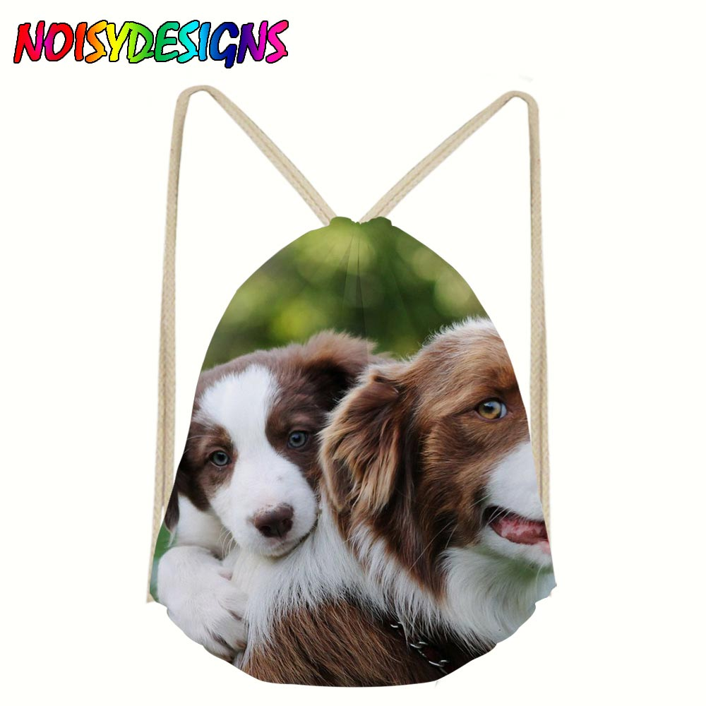 Backpack Drawstring 3D Border Collie Printing Bags Drawstring Bag Travel Bag Women Daily Casual Bag Mochila Feminina Gift Pouch