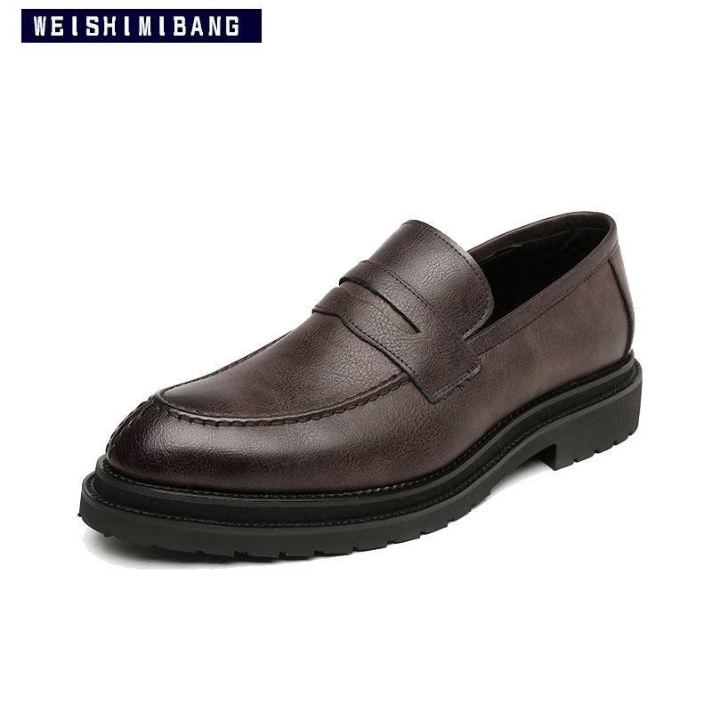 En Hommes 38 Concise Cuir Slip Gris marron Weishimibang Mode 44 Robe Brun Sur Shinnyblack noir forme Ronde Toe Plate Bateau gris Homme Pu Chaussures Classique n0OwPZ8kXN