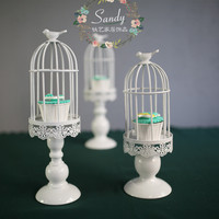 European Wrought Iron Creative White Retro Birdcage Carved Candle Cupcake Stand