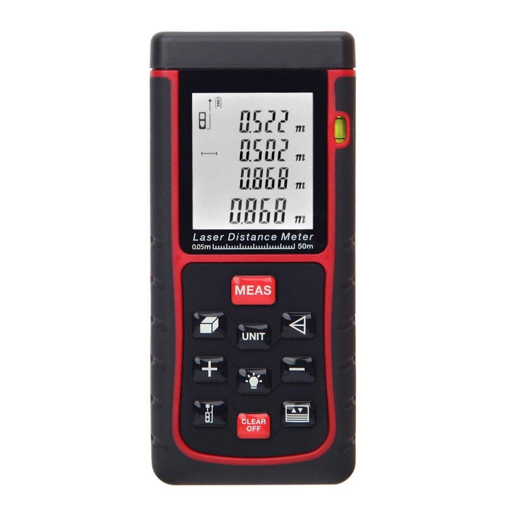 RZE-50 50m / 164ft Digital Laser distance measuring rangefinder Distance measuring surface volume with spirit level Black + Red