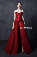 See Orange Customer Made Queen Red Satin Party Dress Strapless Mesh Long Dress Women Sexy Dress Robe Femme Ete 2018 SO2219
