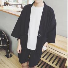 NOUVEAU! fluide trois quarts chemise à manches hommes vêtements lâche d été mince  survêtement noir japonais de style cardigan . 1697505057ca