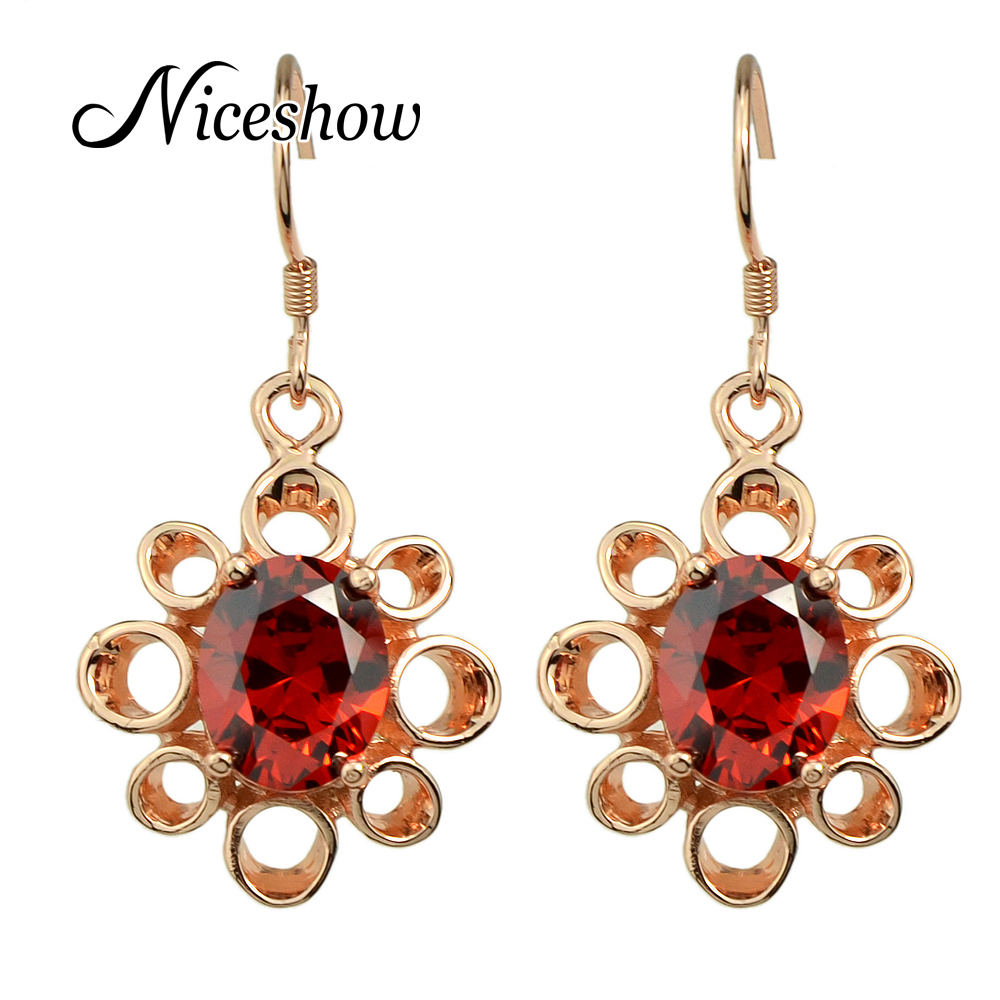Fashionfemale Earrings Costume Jewelry Rosegold Plated Gold Silver Cubic  Zirconia Flower Dangle Earrings Brincos(china