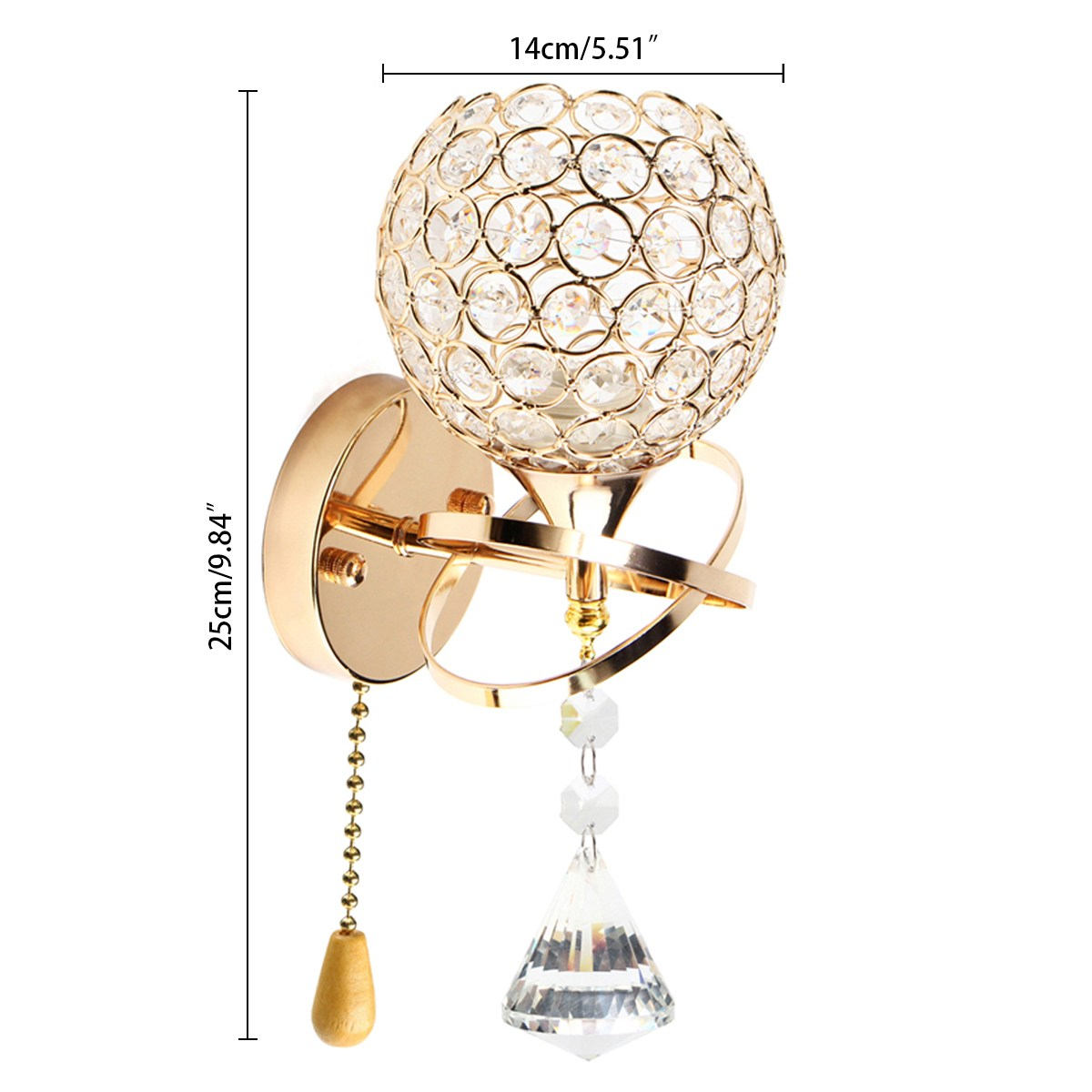 Modern crystal wall lamp sconce pull chain cord switch light fixture modern crystal wall lamp sconce pull chain cord switch light fixture silvergolden bedroom hallway indoor lighting home decor in led indoor wall lamps from arubaitofo Gallery