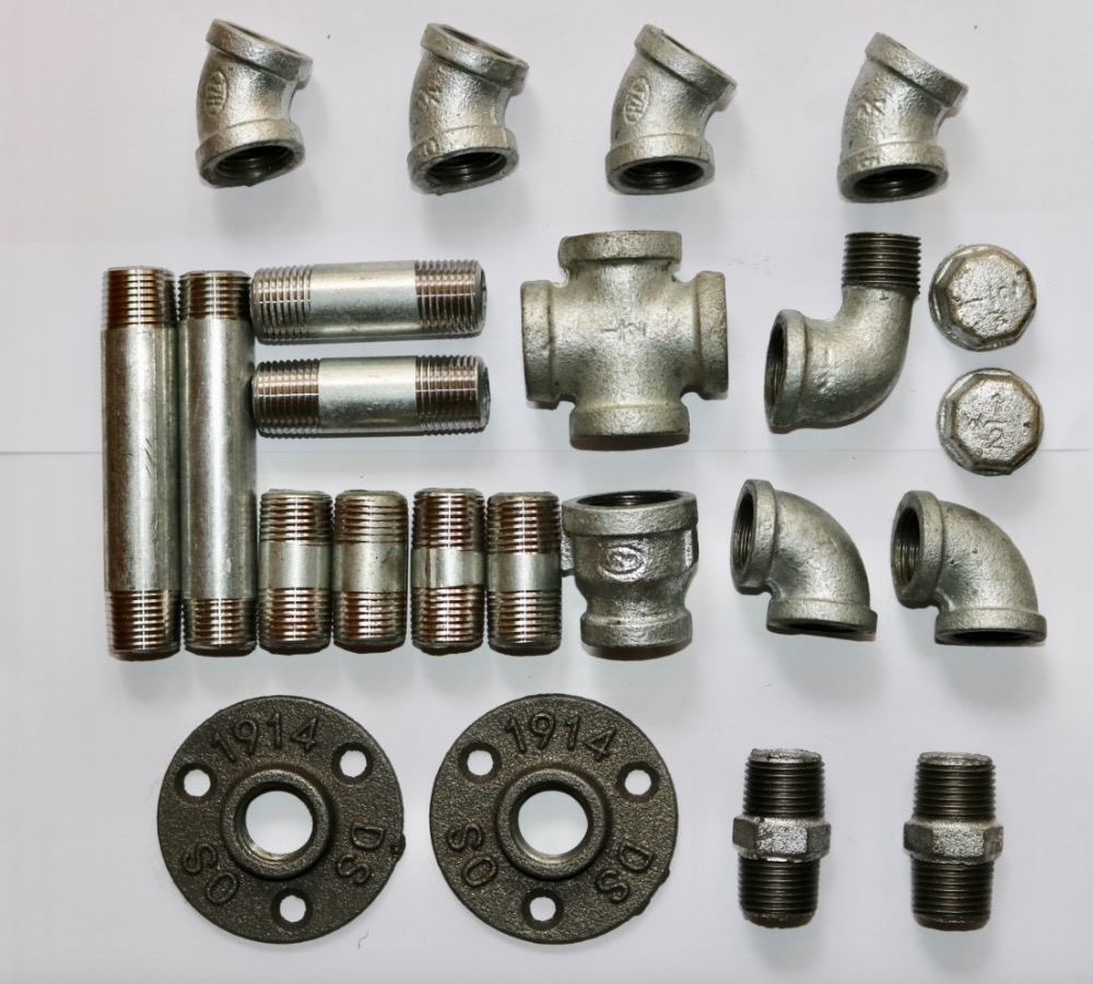 (DN15 Pipe L:4 10cm ID:20MM ) DIY Industrial Pipe Furniture Accessories Wall Shelves Parts Pipe Elbow Connector
