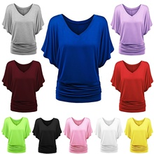 ZOGAA 2019Hot Sale Womens Fashion Summer V Neck Batwing Short Sleeve T Shirt Casual Solid Color Loose Cotton Tops Plus Big Size
