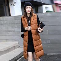2017 אישה חדשה סתיו אפוד נשי אפוד שרוולים האופנה Slim Ladie מעילי מעיל מותג נשים גודל פלוס מוצק אפוד ארוך 3XL 4XL