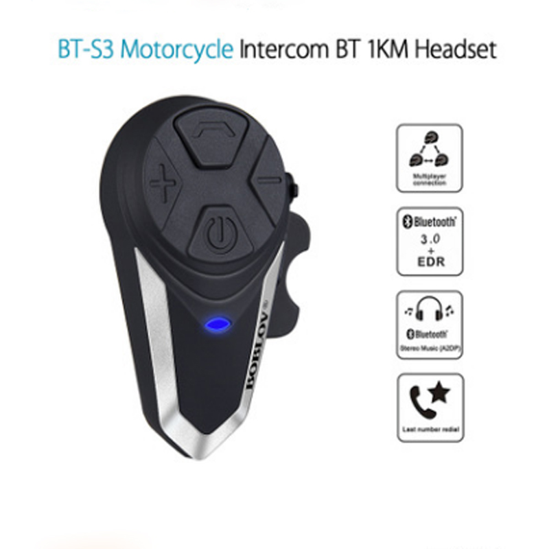 WUPP @Motorcycle Intercom BT-S3 Helmet Headsets Wireless Bluetooth Interphone Handsfree Waterproof FM Radio 5 languages Manual 1000m bt s3 helmet intercom headset motorcycle bluetooth interphone handsfree fm radio waterproof bt intercom 5 languages manual