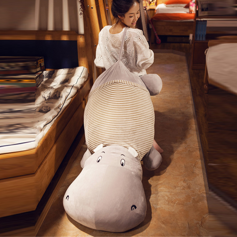 Fancytrader Jumbo Huge Hippo Plush Toys Giant 135cm Soft Stuffed Animals Hippo Pillow Cushion Doll Nice Gifts fancytrader soft anime radish plush toys giant stuffed emulational carrot sleeping pillow cushion for kids and adults gifts