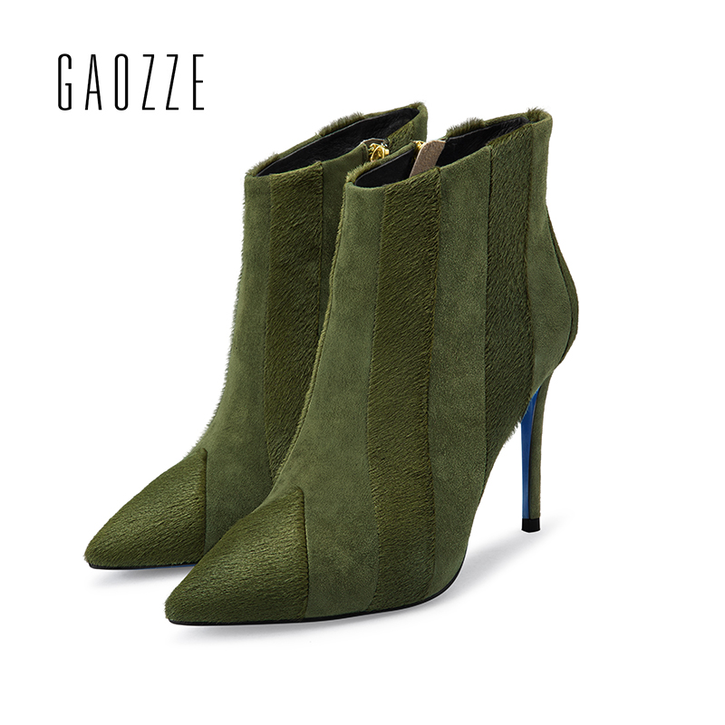 GAOZZE Ankle Boots For Women Leather Pointed Toe Side Zipper Female Thin High Heel Boots Female Ankle Boots 2017 Autumn New цена