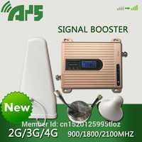 900 1800 2100 mhz Cell Phone Booster GSM DCS WCDMA Tri-Band Mobile Signal Amplifier 2g 3g 4g LTE Cellular Repeater LCD Display