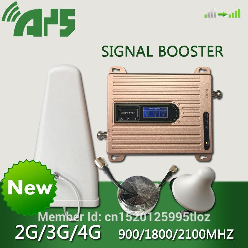 900, 1800, 2100 mhz teléfono celular de refuerzo GSM DCS WCDMA Tri-banda móvil amplificador de señal 2g 3g 4g LTE repetidor de celular pantalla LCD