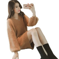 LOVESUN Sexy Long Knitted Sweater Dress Women Autumn Winter Dress Pullover Female Loose Fashion Thicken Bodycon