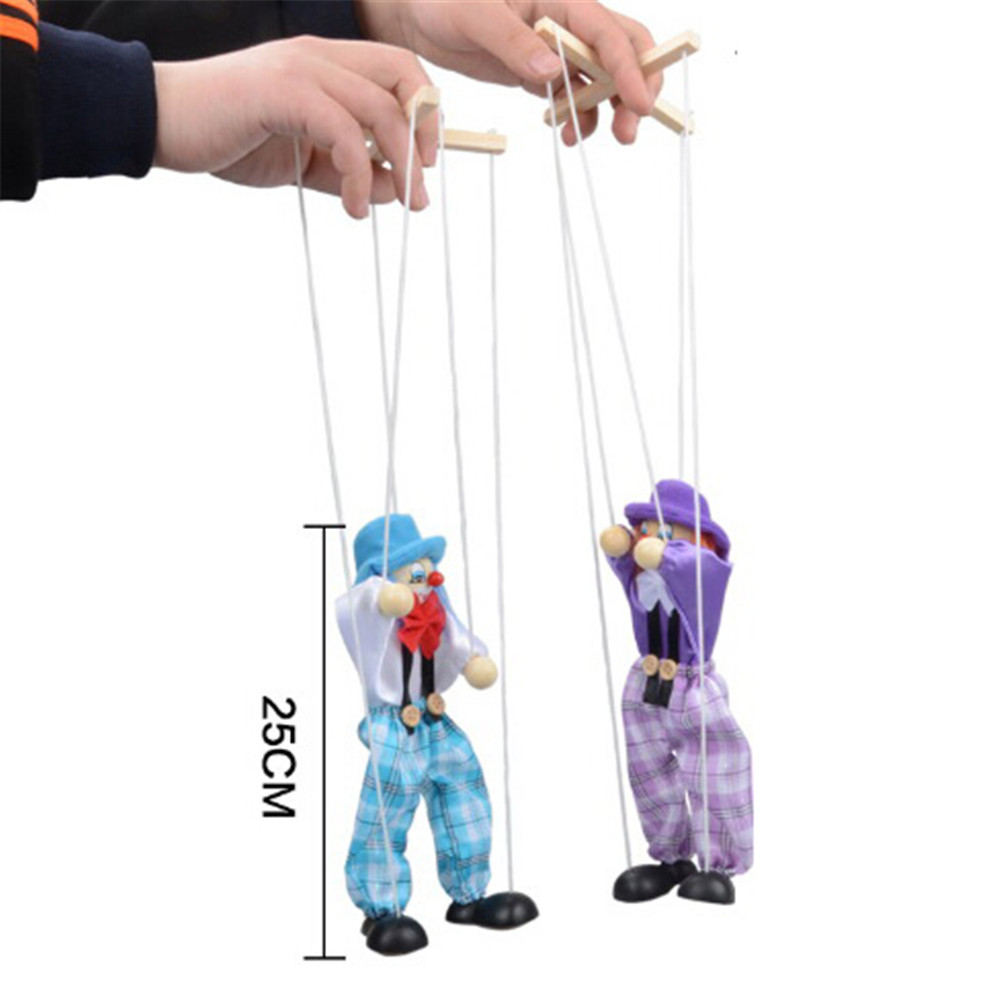 Vintage Traditions Classic Toy 25cm Muppets Baby Toys Hand Finger Puppets Clown Wooden Marionette Toy Joint Activity Doll