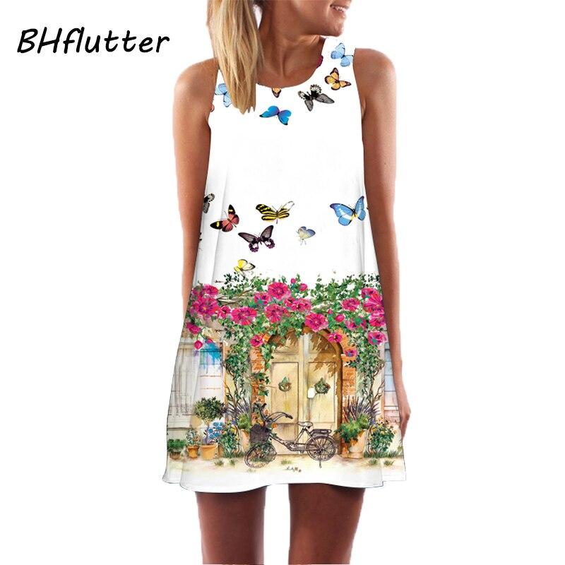 Vestido bohemio nueva moda de , vestido de verano para mujer sin mangas con cuel