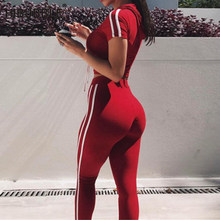 Striped Women Fitness Yoga Set Gym Sports Running Hooded Tracksuit Jogging sport Suit Workout Clothing T-Shirt Pants Set 2018(China)
