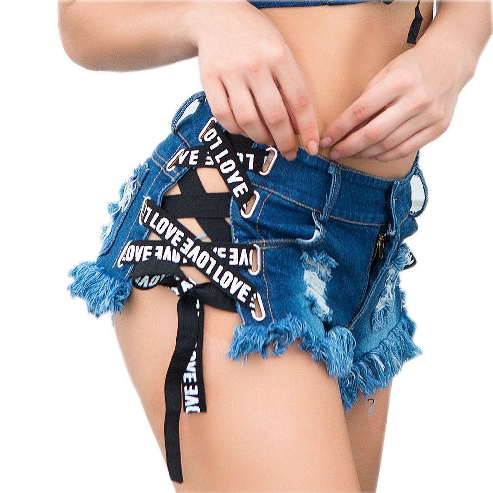 2018 New High waist Mini Jeans Shorts Women Both Side Tie Summer Short Sexy Denim Shorts Jeans