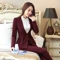 Vinho formais Profissionais Terninhos Com Escritório Senhoras Blazers Jaquetas E Calças Outono Inverno Calças Femininas Set Outfits
