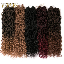 hot deal buy verves faux locs 18 inch crochet braids hair extensions 24 strands/pack braids ombre kanekalon braiding hair synthetic brown