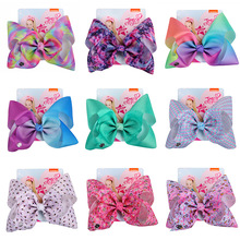 8 Large Hair Bows WIth Clips Hairgrips Accessories Kids Handmade Knot Jumbo Ribbed Ribbon Party For Girls
