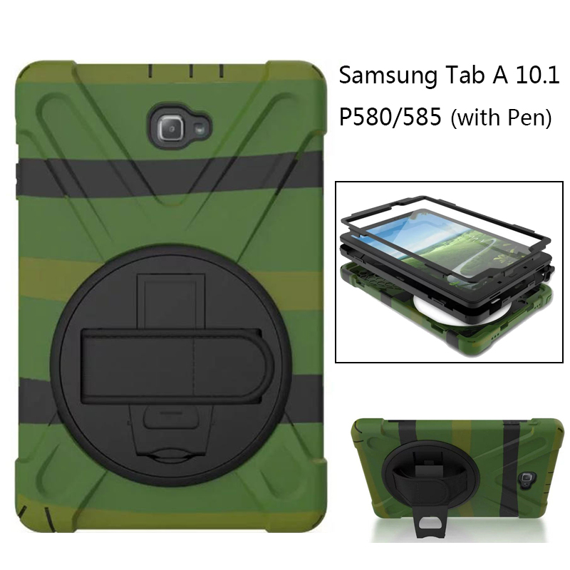 Amor Heavy Duty case For Samsung Galaxy Tab A 6 A6 10.1 P580 P585 S-Pen Tablet case Silicone +PC Back Cover Kick stand Case стоимость