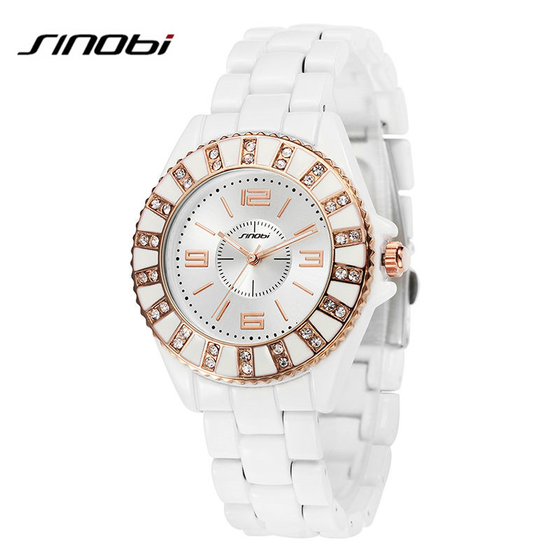 SINOBI Brand Top Luxury Women Quartz Watches Female Ceramic band Wristwatches Diamond Decorated Dial Rose Gold Relogio Feminino fashion sunglasses women diamond luxury brand design sun glasses female mirrored lens oculos de sol feminino