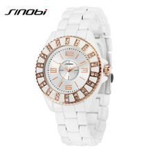 SINOBI Brand Top Luxury Women Quartz Watches Female Ceramic band Wristwatches Diamond Decorated Dial Rose Gold Relogio Feminino