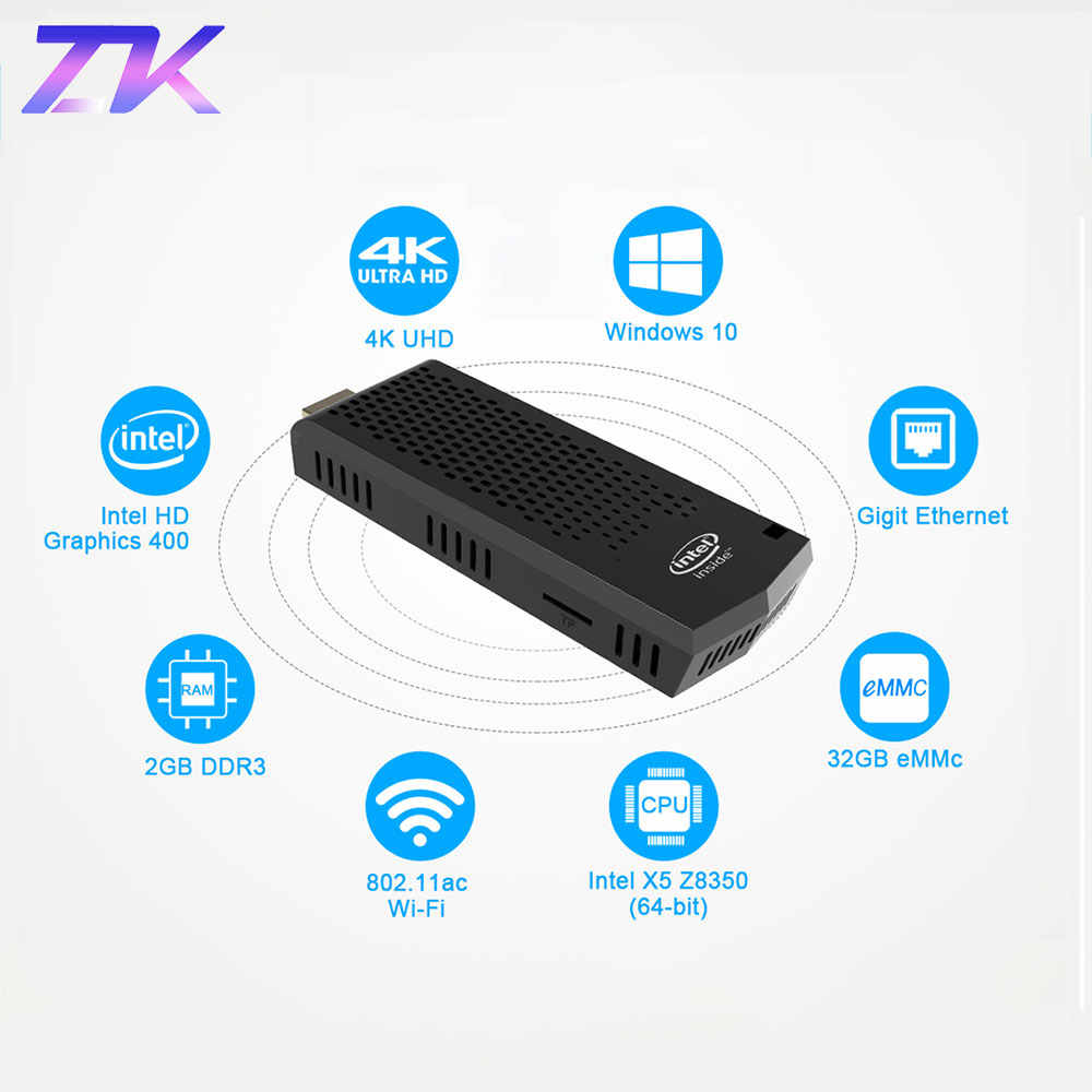 T6 Pro Stick MINI PC Del Computer Tascabile mini fanless Finestre 10 licenza 4GB di RAM 64GB ROM Intel Atom x5-Z8350 4K BT4.0 WiFi USB 3.0
