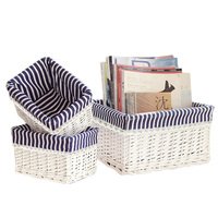 Natural Rattan Woven Storage Basket Cosmetics Clothes Storage Box Desktop Remote Control Snacks Collection Container