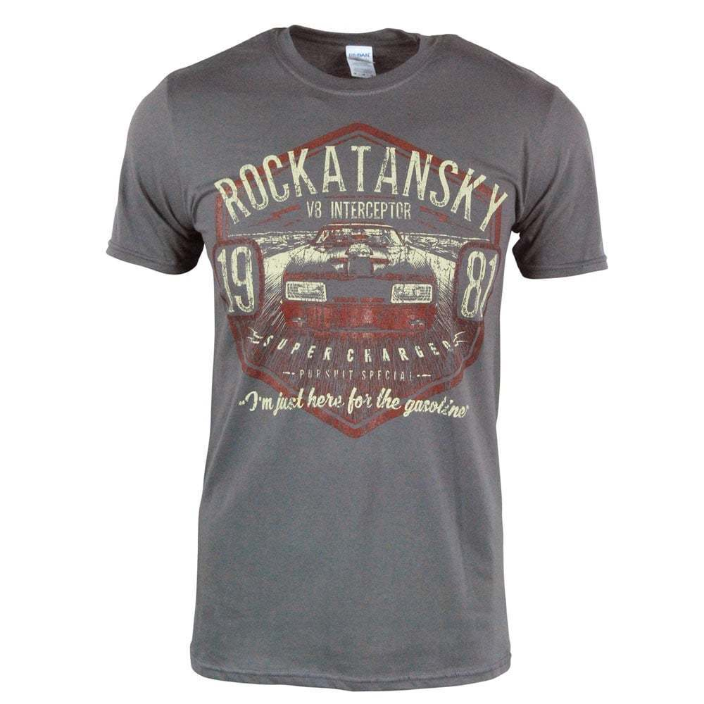 Mens Retro Mad Max Rockatansky <font><b>V8</b></font> Interceptor Car <font><b>T</b></font> <font><b>Shirt</b></font> Grey NEW 1981 Cheap wholesale tees free shipping cheap tee image