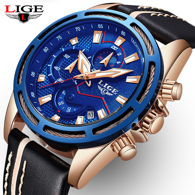 New LIGE Mens Watches Top Brand Luxury Leather Casual Quartz Watch Men Fashion Sport Waterproof Clock Male Relogio Masculino стоимость