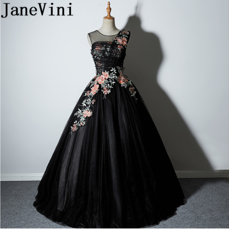 JaneVini 2018 Sexy Black Long Bridesmaid Dresses Sheer Scoop Neck Embroidery Pearls Illusion Tulle Women Wedding Party Dresses