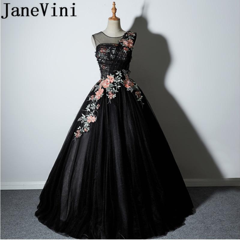 Janevini 2018 Sexy Black Long Bridesmaid Dresses Sheer Scoop Neck