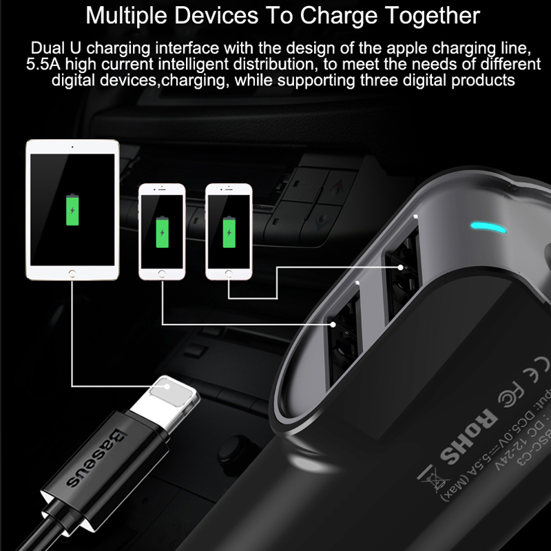 Dual iPhone Car Charger with data cable - 3 port USB Fast Charging 3