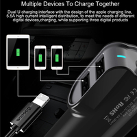 Dual iPhone Car Charger with data cable - 3 port USB Fast Charging 9