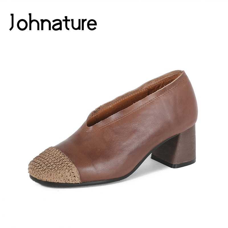 Johnature 2019 New Spring/Autumn  Genuine Leather Round Toe Square Heel Casual Retro Riband Women Shoes PumpsJohnature 2019 New Spring/Autumn  Genuine Leather Round Toe Square Heel Casual Retro Riband Women Shoes Pumps