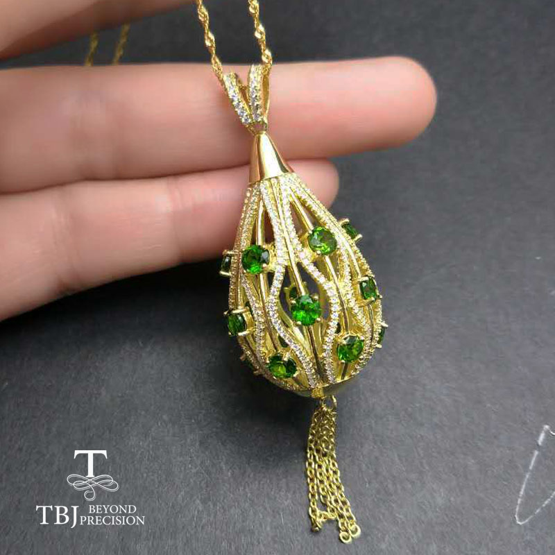 TBJ,Yellow gold color silver pendant gemstone necklace with natural chrome diopside in 925 sterling silver fine jewelry