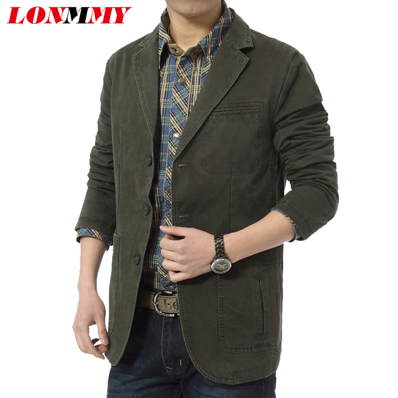 LONMMY M-4XL 2018 blazers and jackets Cotton slim fit wedding dress suits mens blazer jacket men clothes Casual terno masculino