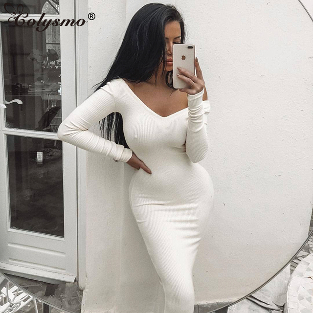 Colysmo Long Sleeve Winter Dress White Bodycon Dress Women Elegant Long  Dress Midi Sexy Club Wear Party Dresses Vestido De Festa c018599e5489
