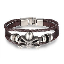 New Fashion Genuine Leather Charm Bracelets Pirate Alloy For Women Men Vintage Beaded Braided Bracelets Bangles Wholesale(China)