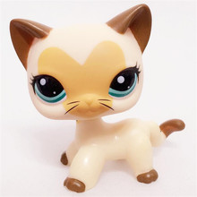 Rare Pet Shop Lps Toys Standing Littlest Short Hair Cat Grey White #5 Pink #2291 Old Real Action Figure Anime For Children