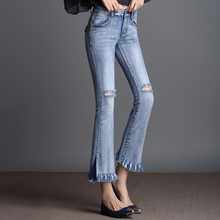 FOKINOFE Elastic Ankle Length Hole Flare Jeans Torn Edges High Waist Boot Cut Jeans 2017 Spring Plus Size Woman Jeans