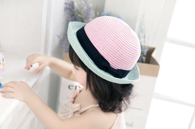 0e7c9c34bce Panama Hat Children Fashion Gold Thread Straw Caps Summer Hat For Girls  Patchwork Princess Cowboy Cap With Sun Protection