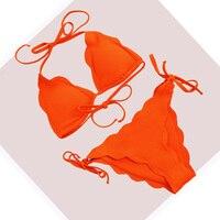 2018 Festoneado Bikinis Set Triángulo Traje de Baño Atractivo Del Vendaje del traje de Baño Mujeres Trajes de Baño Empuja Hacia Arriba Biquini Brasileño Naranja