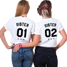 Best Friends T Shirts Fashion INS Tumblr Chic BFF Shirt Women Plus Size Letter Tshirt Femme Sister 01 02 T-Shirt Female