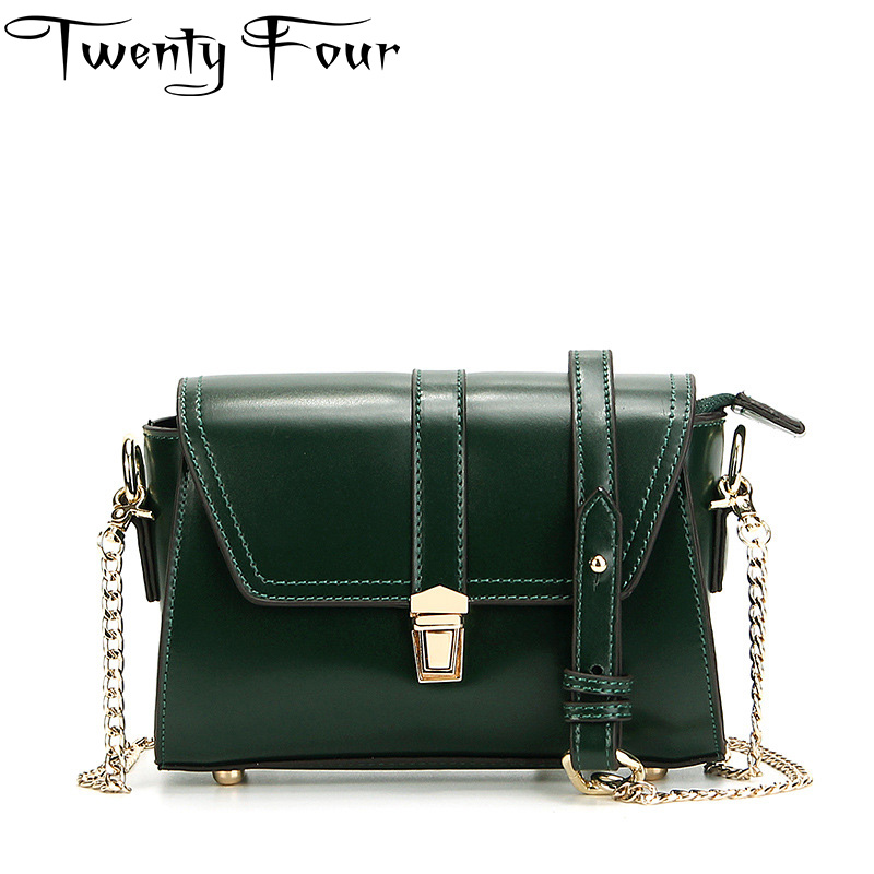 Twenty-four Women Luxury Flap bag Genuine Leather fashion Messenger bags Lady Chains Shoulder strap Rivet small bag Wax oil skin 2017 fashion all match retro split leather women bag top grade small shoulder bags multilayer mini chain women messenger bags