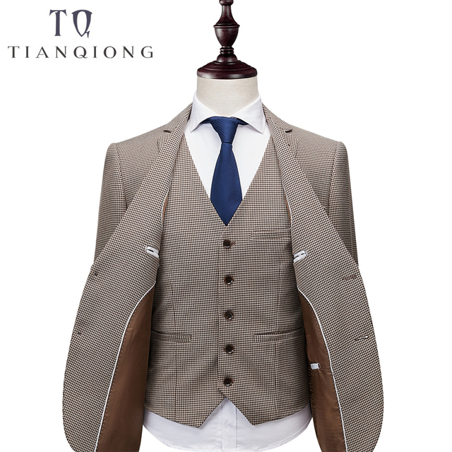 Brand Mens Suit Jacket Khaki Formal Business Blazer Men Groom Three Pieces Slim Fit Party Clothing Single Button Wedding Dress