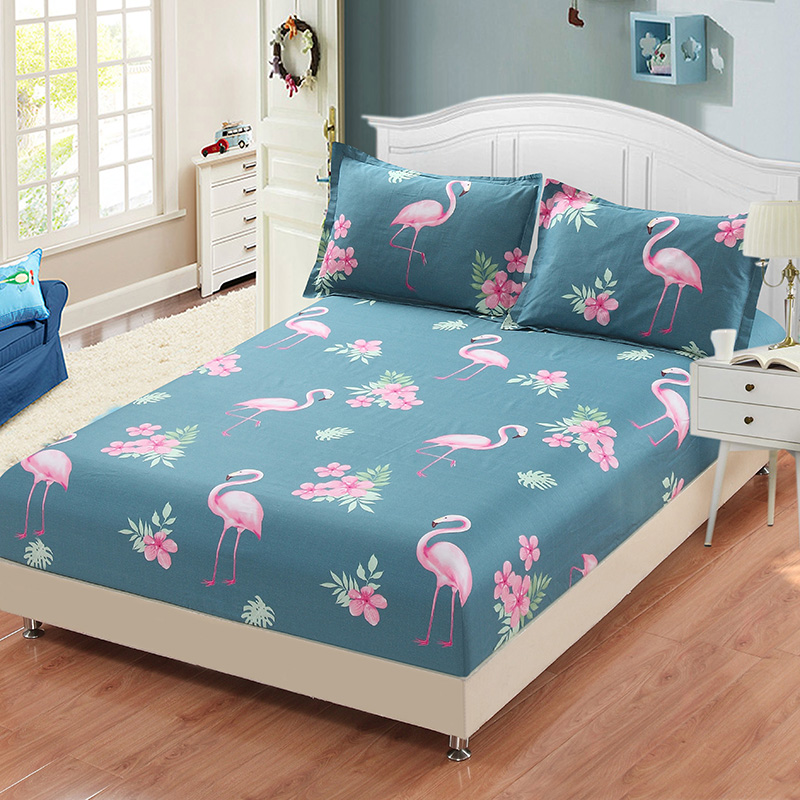 100%Cotton Printing Flamingo Nice Bedding Sheet Cheap Full queen king Single Double size Comfortable Fitted Sheet Mattress Cover