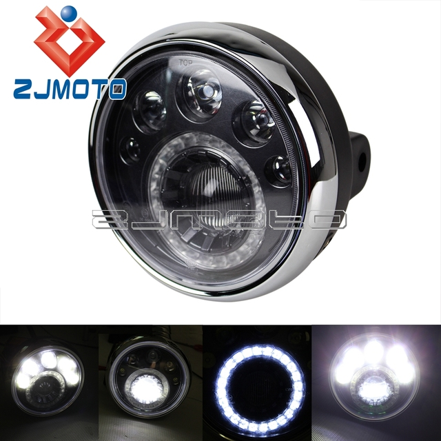 zjmoto personnalis 7 rond moto led phare e marque 12 v led moto phares vision lampe projecteur. Black Bedroom Furniture Sets. Home Design Ideas