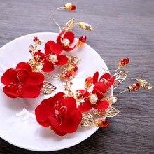 1pc Classic Chinese Red Flower Bride Hair Pins Hair Jewelry Women Girl Hairpin Tiara Barrette Bridal Wedding Hair Accessories LB